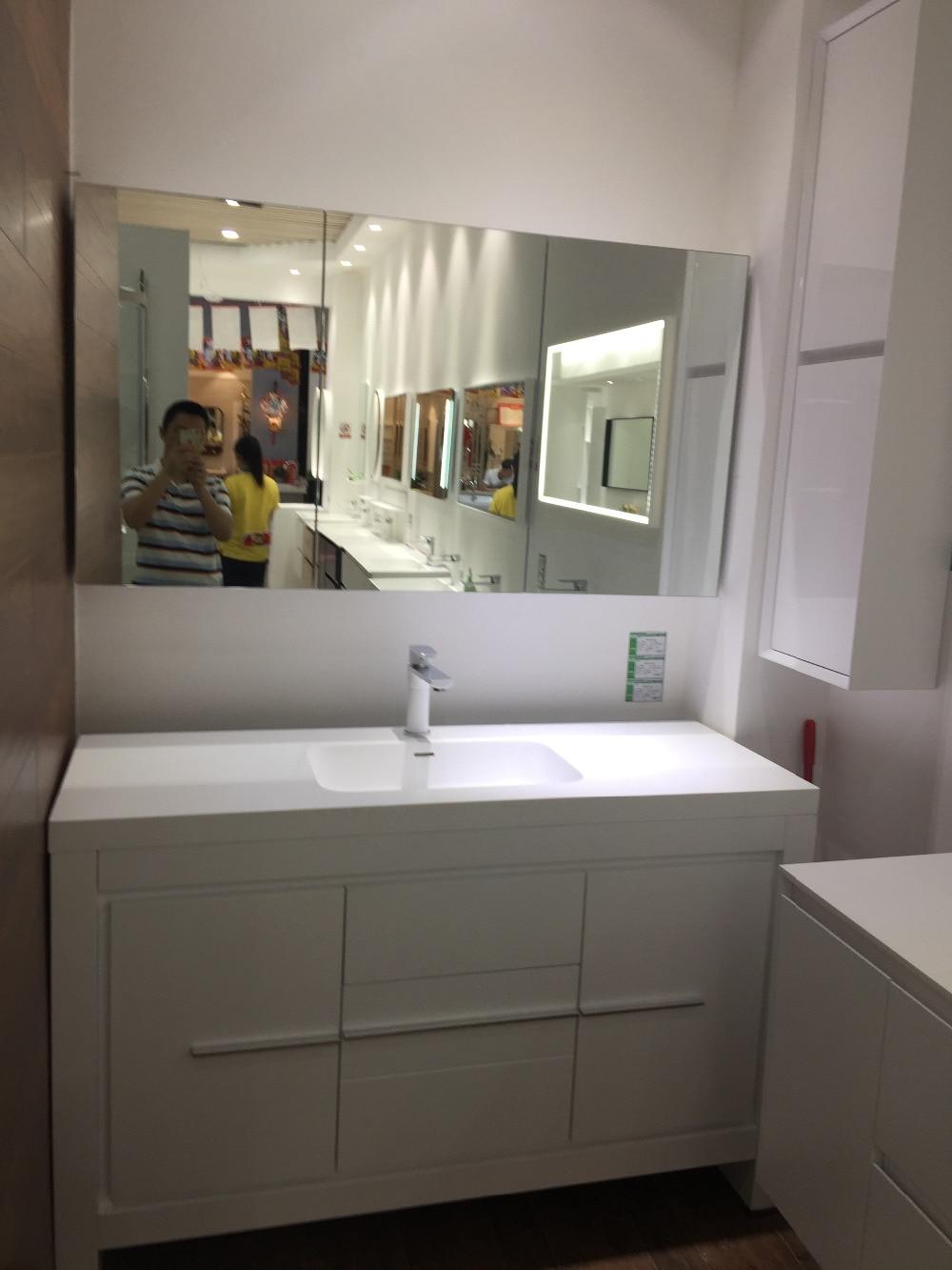 1300mm Floor Mounted Solid Surface Acrylic Furniture Oak Wood Bathroom Vanity Cabinet Cloakroom Matt White Sink 2193 0
