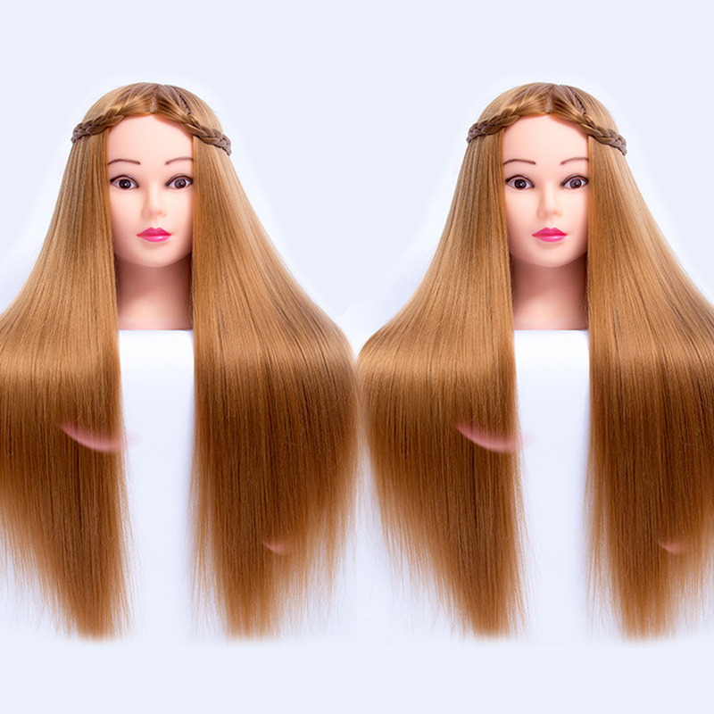 65CM Fiber Blonde Hair Training Head Mannequin Head Nice Female Doll Hair Styling Head Hair Mannequin Manikin Head Hairdressing