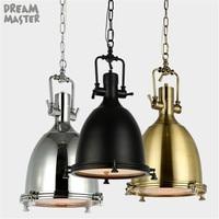 AC100 240V D30*H58cm Black Gold Silver vintage Heavy metal industrial brass pendant lights Retro Hanging Lighting Fixture
