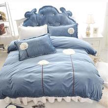 New 4pcs bedding set Coral velvet Dandelion Fabric style bedclothes duvet quilt cover bed sheet pillowcase