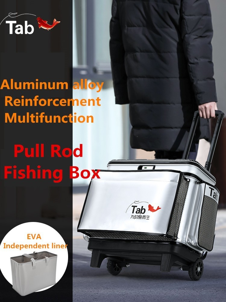 Seau de Protection pour engins de pêche à grande roue épaissi multifonctionnel à couvercle rigide A9007YPB