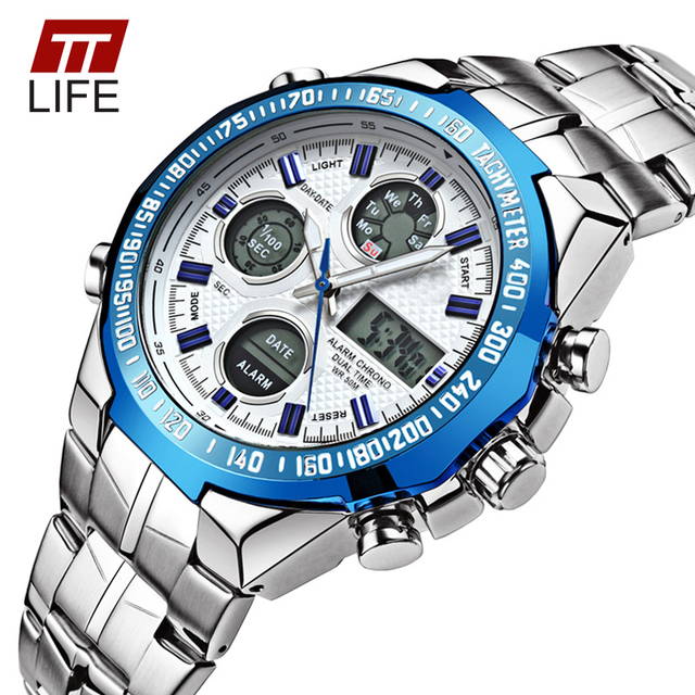 TTLIFE Waterproof Men Sport Watches Men's Quartz LED Digital Dual Display Clock Male Army Military Wrist Watch Relogio Masculino