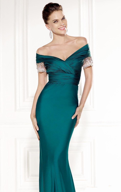 Вмс зеленый портрет с коротким рукавом развертки поезд тафта русалка вечерние платья элегантный спинки выкл-плечу мать платья