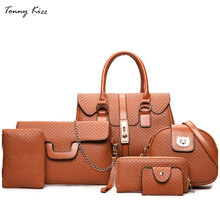 Tonny Kizz 6 set composite women handbags female shoulder bags crossbody messenger long wallet bolsa feminina