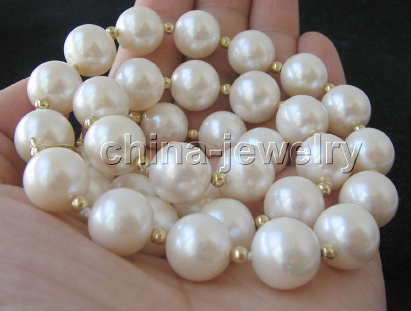 Hot sale new Style >>>>AAA+ 19 11-12mm natural white round freshwater pearl necklaceHot sale new Style >>>>AAA+ 19 11-12mm natural white round freshwater pearl necklace