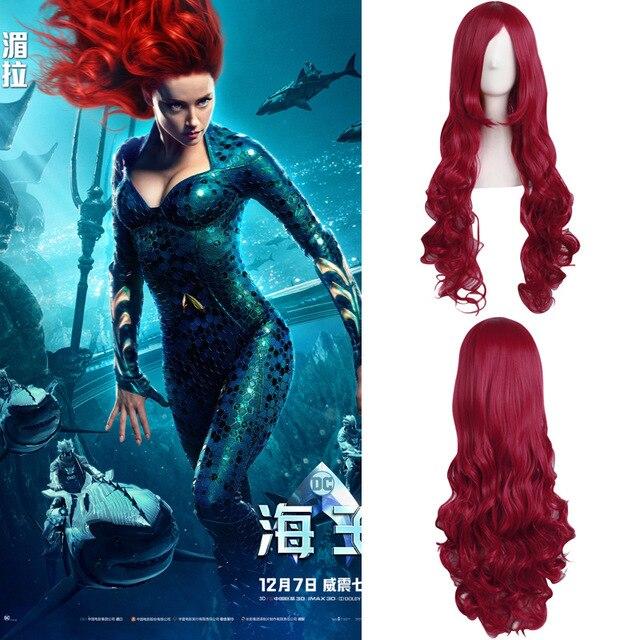 "80cm/31"" Movie Aquaman Mera cosplay wig Women Mera red wavy long hair wig Mera costumes with free hair cap"