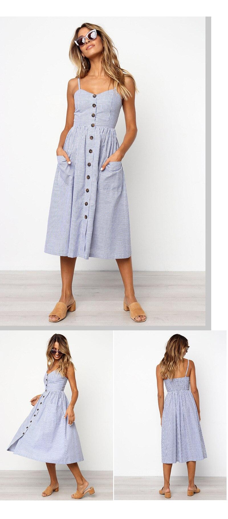 Button Striped Print Cotton Linen Casual Summer Dress 19 Sexy Spaghetti Strap V-neck Off Shoulder Women Midi Dress Vestidos 6