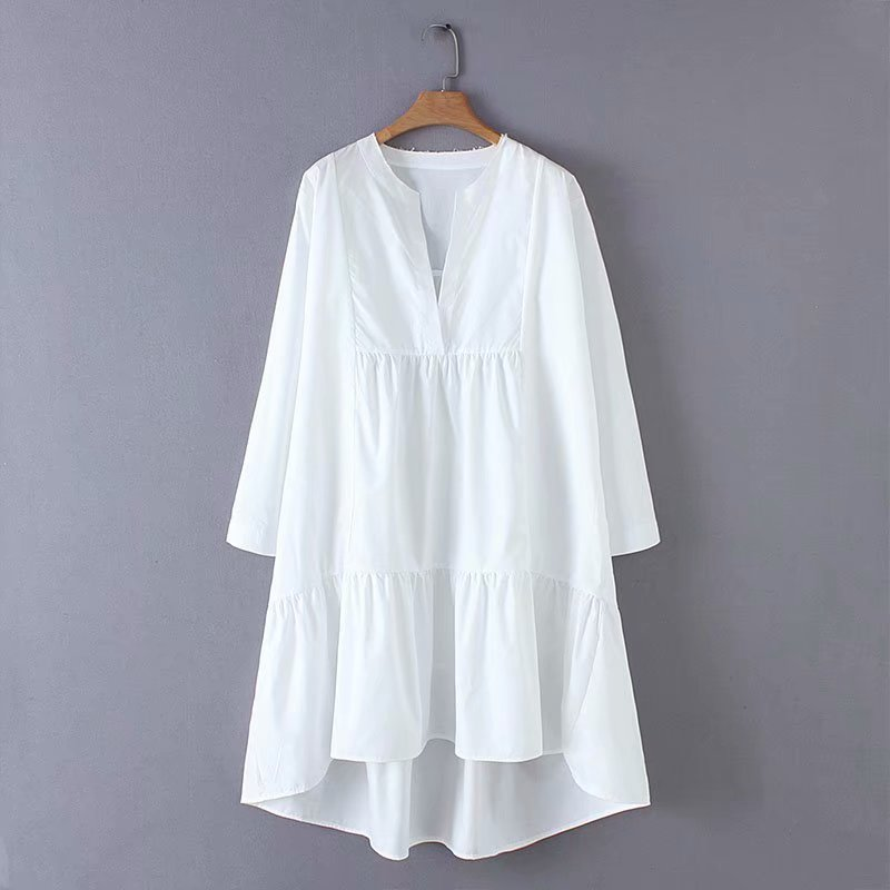 2019 New Women Fashion V Neck Solid Color Irregular Hem Loose A Line Dress Female Sweet Long Sleeve Casual White Vestidos DS2057