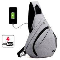 Fashion Men Backpacks USB Charging Backpack for Teenagers Boys School Bag for Male One Shoulder Crossbody Chest Rucksack Mochila