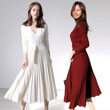 HAMALIEL, новинка, модное женское вязаное Плиссированное Платье, Осень-зима, длинный рукав, толстый свитер, платье, повседневное, сексуальное, v-образный вырез, платье с поясом