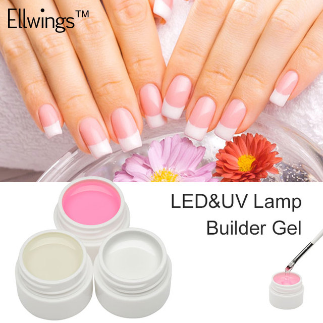Ellwings Pink White Clear 3 Color Options UV Gel Builder Extend Nail Art Tips For