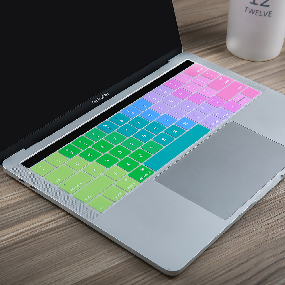 "Ingrese la funda de silicona con teclado Rainbow inglés para Macbook Pro 13 ""y MacBook Pro 15"" A1706 A1707 con barra multitáctil"