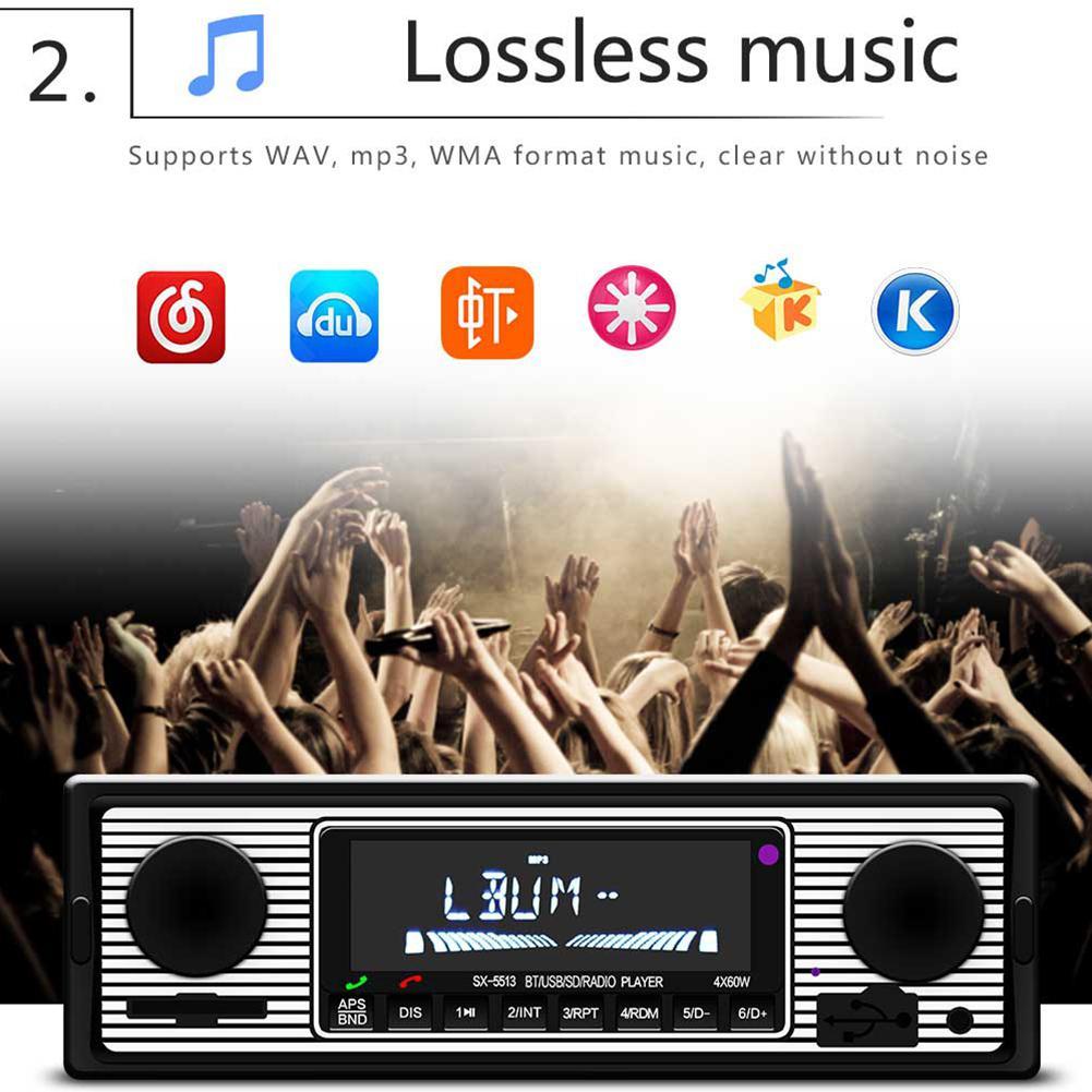 Dragonpad Bluetooth Vintage Car Radio MP3 Player Stereo USB AUX Classic Car Stereo Audio
