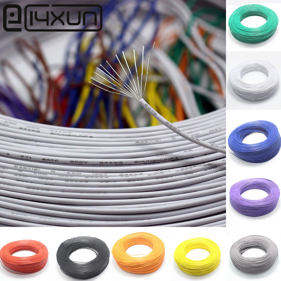 5 Meter <font><b>UL1007</b></font> UL-1007 Wire cable 24AWG 11/0.16TS 80C 300V 1.4MM PVC Electronic Cable UL Certification 10 Color For DIY image