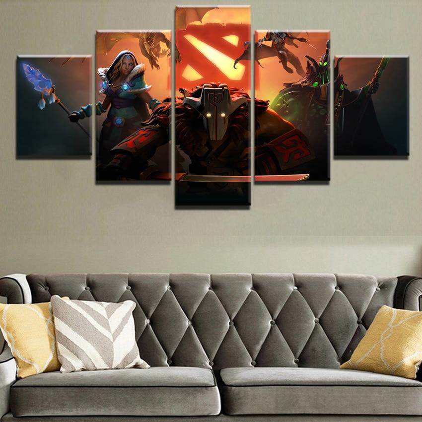 5 Panel Canvas Painting Home Decor Living Room DotA 2