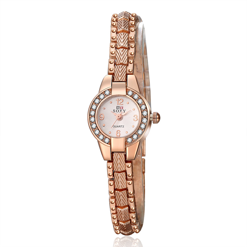 Hot Sale Luxury Rose Gold Watch Fashion Bracelet Watch Women Elegant Rhinestone Quartz Watch Ladies Watches Relogio Feminino