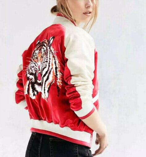 Новый 2016 Осень Зима Harajuku Тигр Вышивка Куртка Мода Женщины Куртка Бомбардировщика Дамы Этническая Пальто Chaquetas Mujer