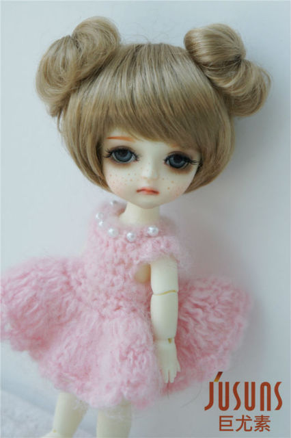 JD301  1/8  Synthetic mohair BJD doll wig   5-6inch double circle concentric tail  Lati yellow size doll accessories
