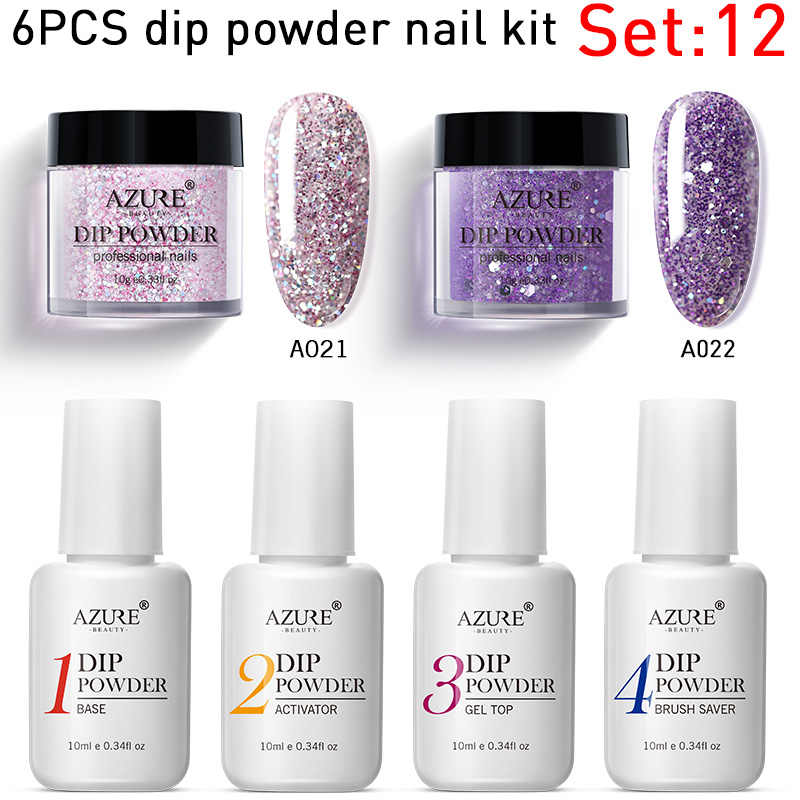 Azure Kecantikan 6 Pcs/lot Warna Ungu Mencelupkan Bubuk Kuku Seni Glitter Dekorasi Set Base Top Coat Gel DIP Bubuk Kuku kit