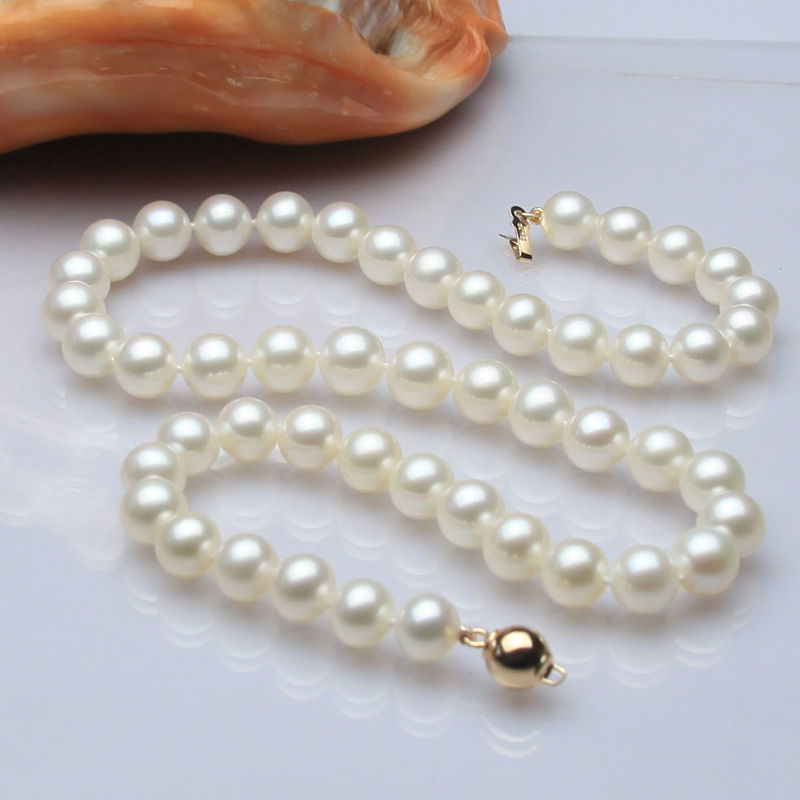 "shipping>>> >>>ss144 2015 genuine AAA++ 9-10mm white cultured pearl necklace 17"" 14KGP/585 gold"