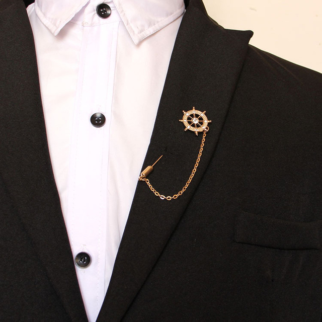 Nice Hot Unisex Gold Rhinestone Anchor Brooch Suit Shirt Stick Lapel Pin Chain  Brooch Jewelry Gift For