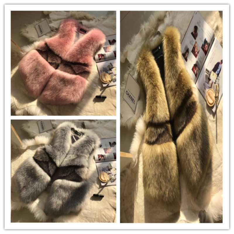 Manteau Hiver Mince Nouveau Renard Cw081 pink 2019 Survêtement Solide Court Gilet Gray Faux Mode Veste Fourrure Femmes Chaud De Automne green D'hiver EPdqY