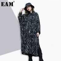 EAM 2018 New Spring Lapel Long Lantern Sleeve Black Pattern Printed Loose Long Big Size