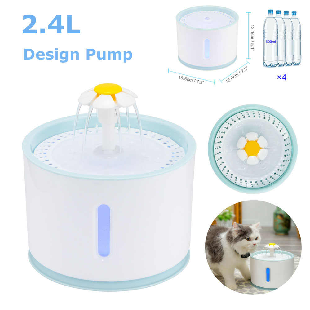 LED Electric Mute Water Feeder Dog Pet Drinker Bowl 2 4L