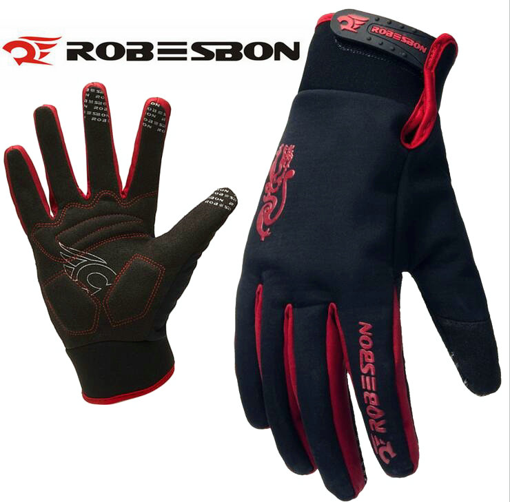 ROBESBON Bike font b Glove b font Full Finger Black waterproof Bike Cycling font b Gloves