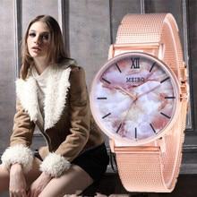 Reloj Mujer Women Watches Fashion Casual Marble Rose Gold Ultra-thin Mesh Belt Quartz Watch Relogio Feminino bayan kol saati