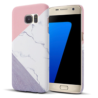 CreatValu Granite Marble Pink Case Cover For Samsung Galaxy S6 S7 Edge S8 Plus Contrast Color