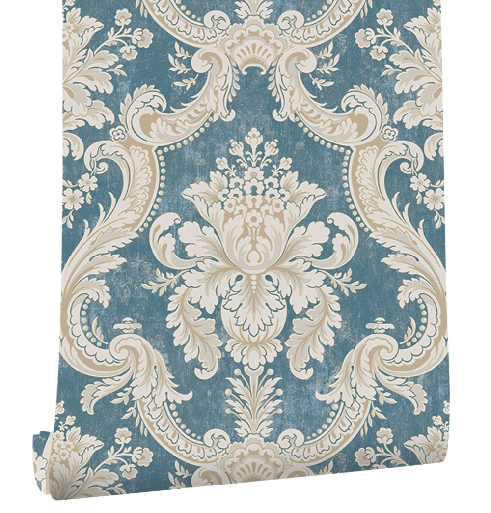 HaokHome Italian Damask Wallpaper Blue/Cream Victorian Non