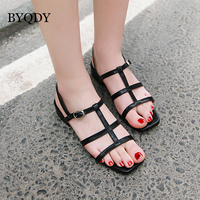 BYQDY Summer Sandals Woman Buckle Square Heels Shoes Punk Gladiator Sandals Low Heels Dress Shoes Big Size 34 48 Dropshipping