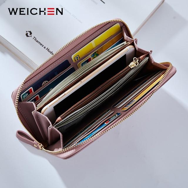 WEICHEN Wristband Women Long Clutch Wallet Large Capacity Wallets Female Purse Lady Purses Phone Pocket Card Holder Carteras 1