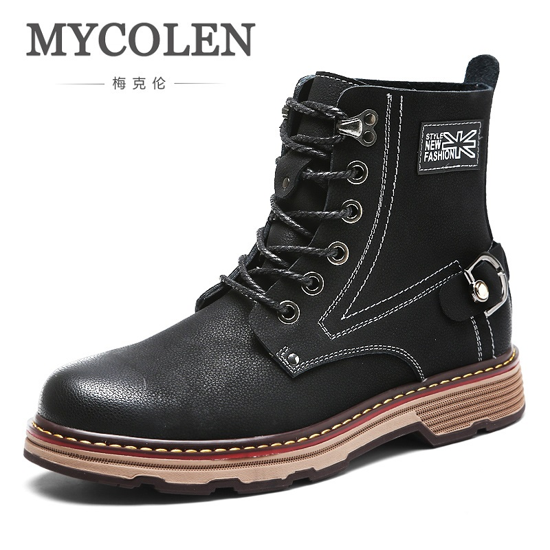 MYCOLEN Super Fashion Men Autumn Winter Leather Boots Waterproof Snow Boots Leisure Martin Boots High-Top Shoes For Mens lozoga quality genuine leather shoes men boots high top martin motorcycle autumn winter shoes lover snow boots free shipping