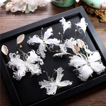Фотография Super fairy white feather butterfly hairclip bride hair ornaments suit sweet flower handmade headdress wedding hair accessories