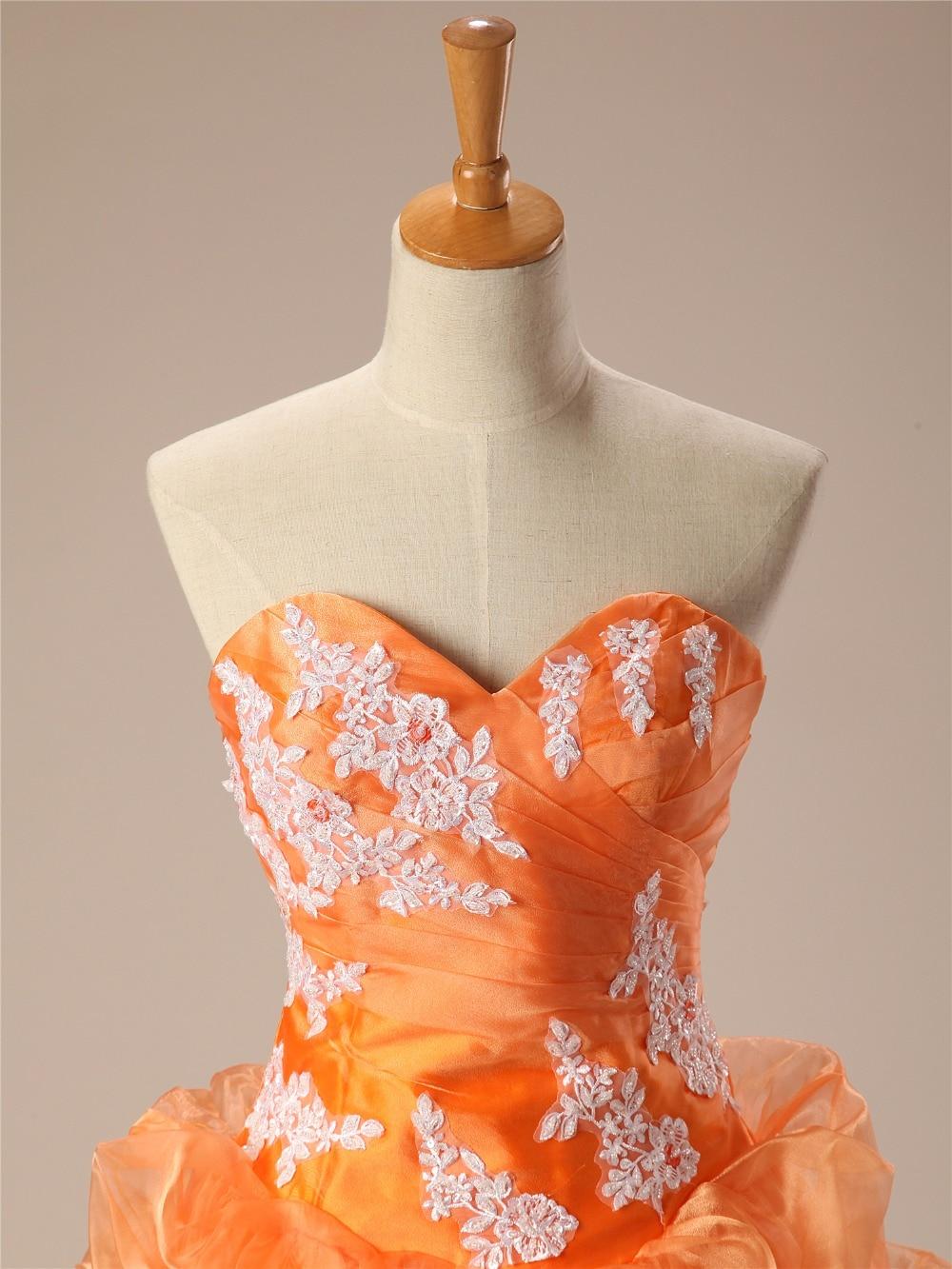 Cheap Quinceanera Dresses Orange Sweetheart Appliques Lace Vestidos De 15 Anos Ball Gown Sweet 16 Dresses Debutante Gown - 4