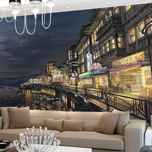 Cartoon City Night Sketch TV Background Wallpaper Children Room Dining Room  Wall Mural Cloth Part 56
