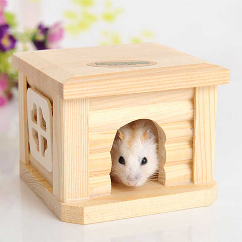 Mini Pequena Casa De Madeira da Gaiola do animal de Estimação de Inverno À Prova de Vento e Quente Ninho Caverna para Rato Hamster Esquilo Caso Bonito do animal de Estimação Do Bebê acessórios