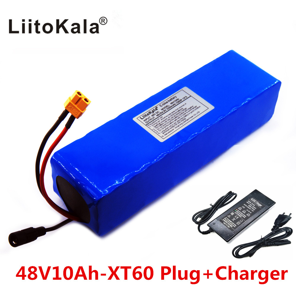 NEW LiitoKala <font><b>48V</b></font> <font><b>48V</b></font> Lithium <font><b>Battery</b></font> 10ah <font><b>1000W</b></font> <font><b>Battery</b></font> Electric Bicycle BMS <font><b>Battery</b></font> Built in 50A XT60 plug + 4.6V Charger 2A image