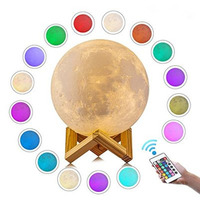 16 Colors 3D Print Moon Lamp Rechargeable LED Night Light DC 5V Lunar Dimmable Night Desk