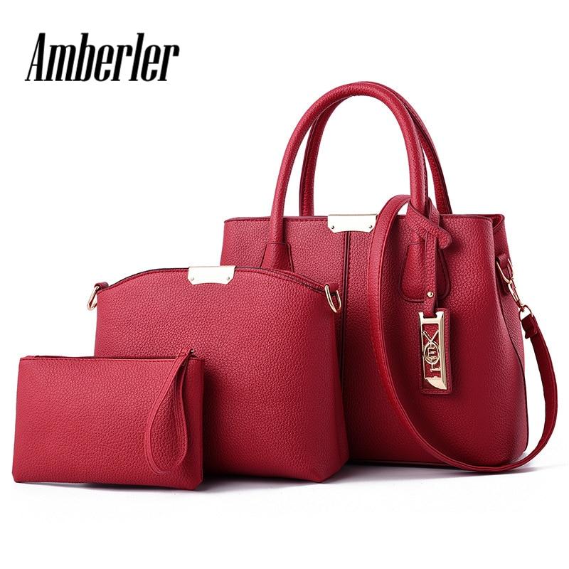 Amberler Women Handbag Luxury Handbags Women Bags Designer PU Leather Bag For Ladies Hand Bag Big Casual Tote Shoulder Set Bag 1