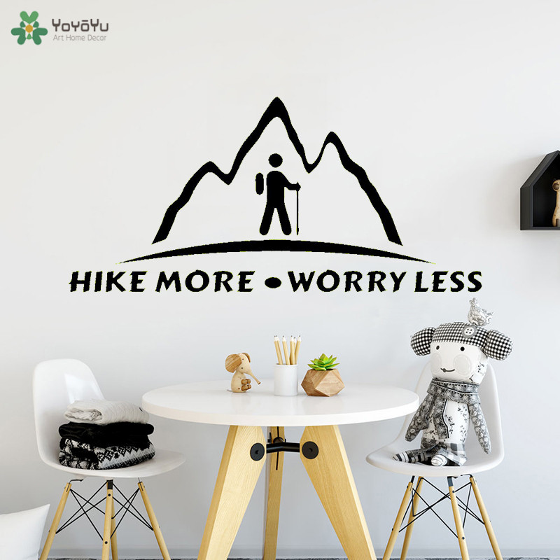 YOYOYU Wall Decal Hike More Worry Less Quote Wall Sticker For Livingroom Creative Window Art Home Decor Removable Mountain CT615