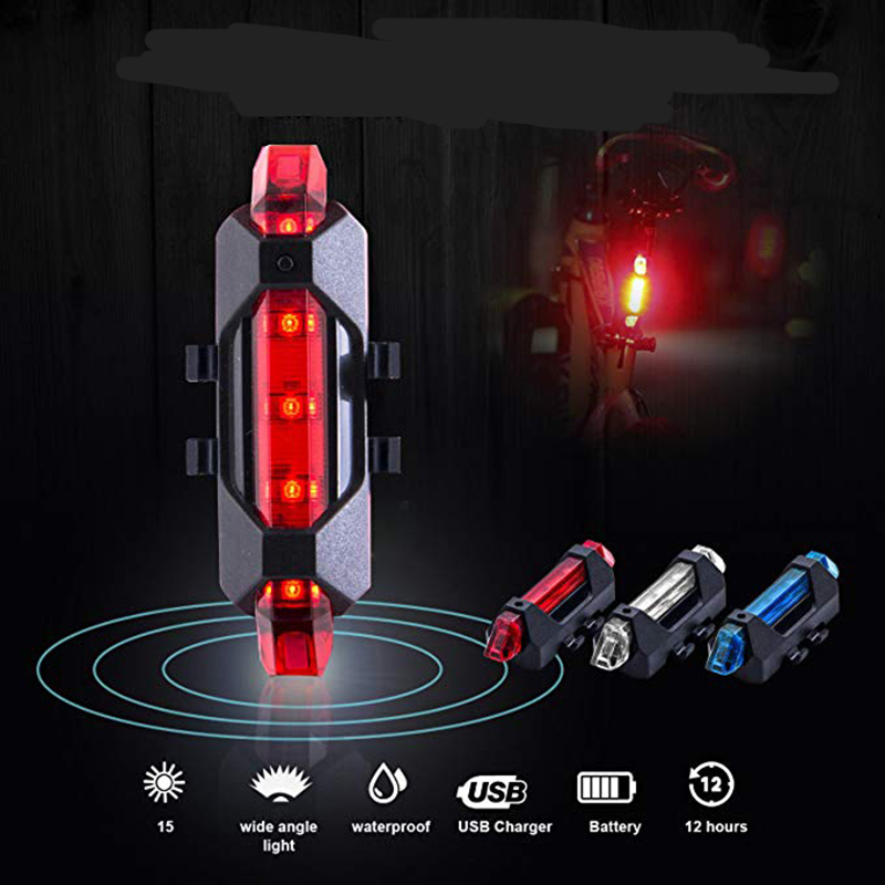 New Bike Bicycle Light Rechargeable LED Taillight USB Rear Tail Safety Warning Cycling Light Portable Flash Light Super Bright