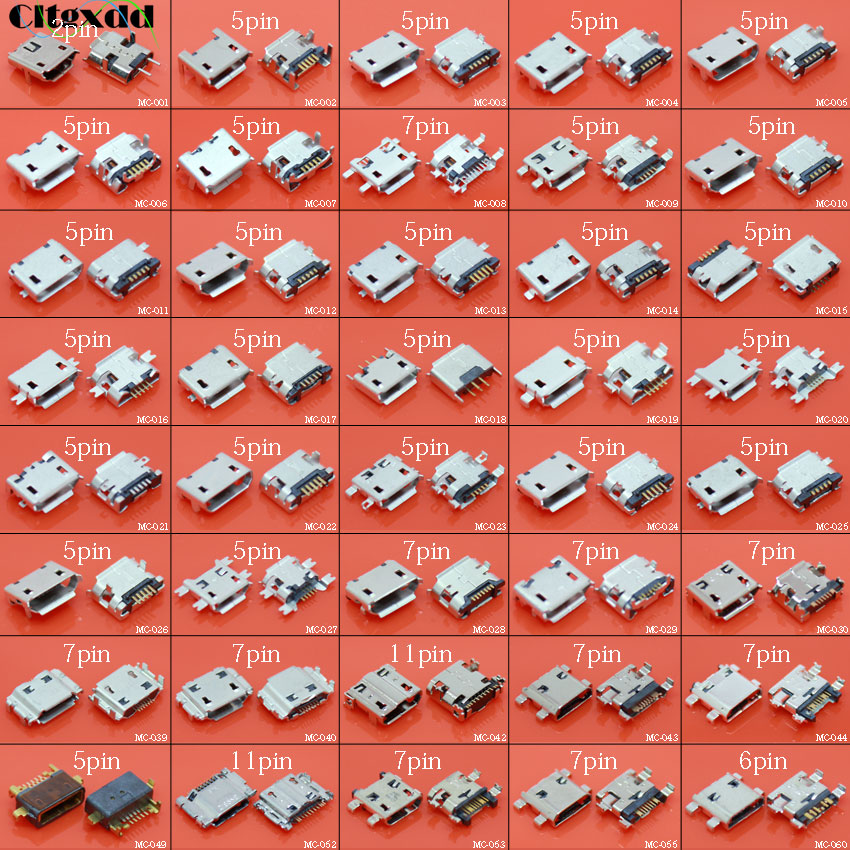 Cltgxdd 40models 40pcs 5pin 7pin Micro USB Jack Socket Charging Port Connector For Samsung Huawei Lenovo HTC Nokia Tablet PC Etc