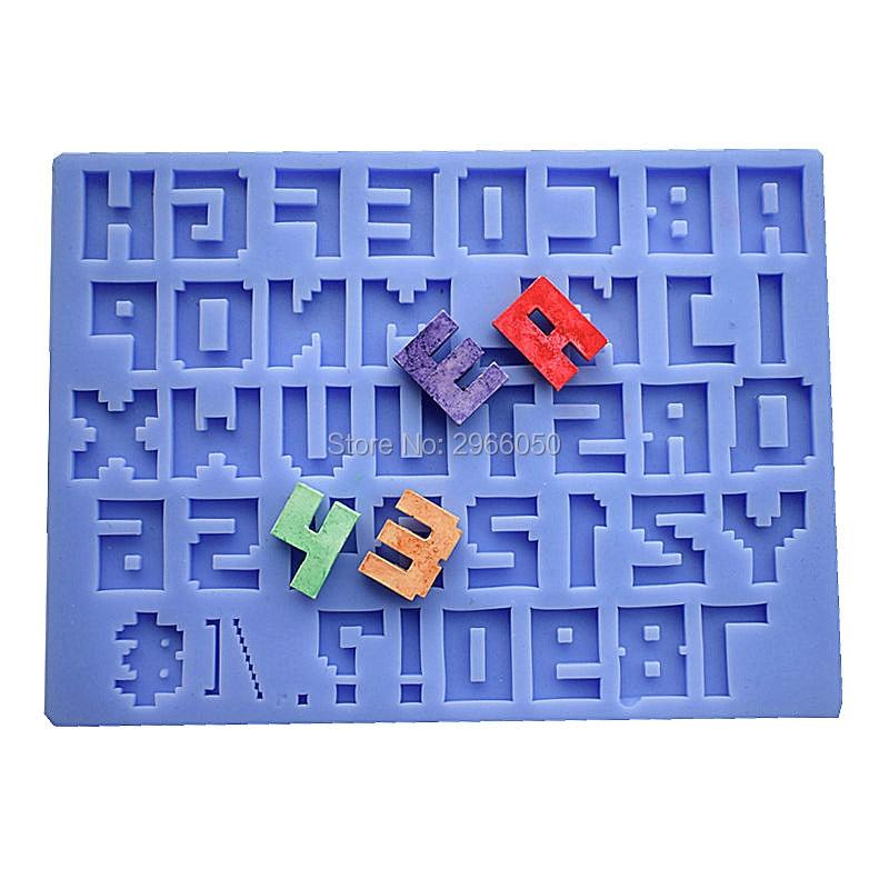 픽셀 모양 디지털 및 문자 케이크 금형, 도매 실리콘 케이크 금형, 케이크 장식 도구 LH49