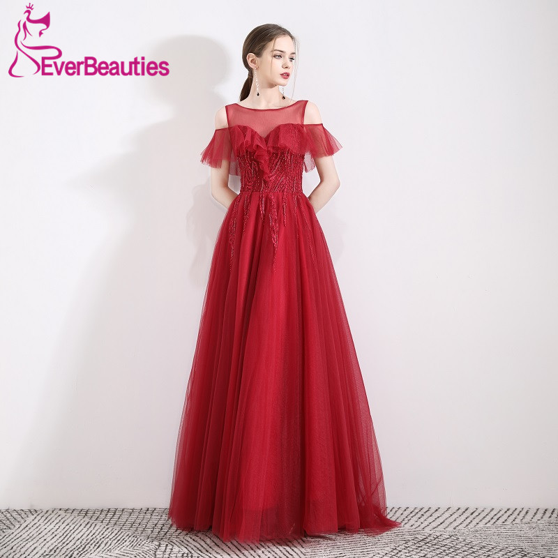 Robe De Soiree Elegant Wine Red   Evening     Dress   Long Abiye Gece Elbisesi Tulle Appliques   Evening   Gowns Abendkleider 2019