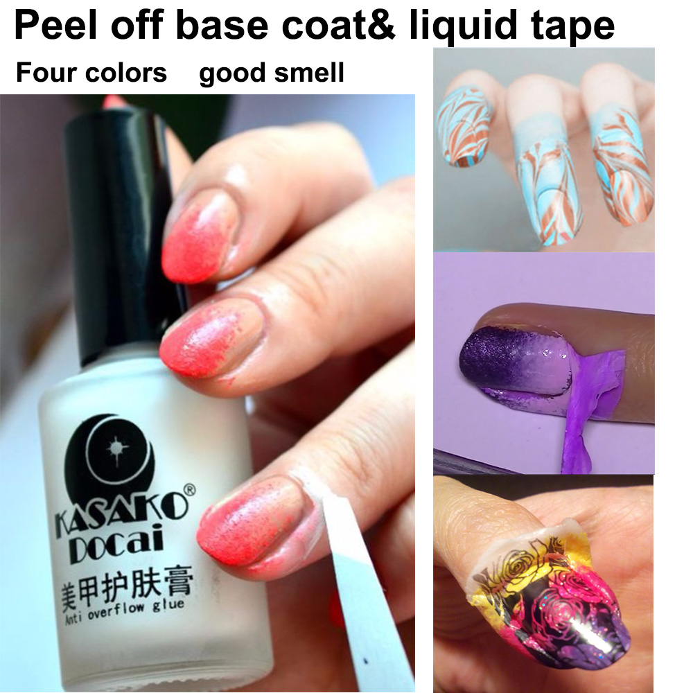 1 Pc Diy Four Colors Gel Polish Cuticle Guard L Off Nail Base Coat Liquid
