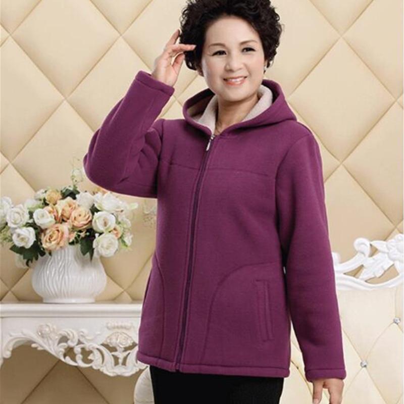 Middle-aged Autumn Fleece Outerwear 2018 Plus size 5XL Slim Hooded Women Jacket Solid color Warm Casual Short Winter Jacket Coat 1
