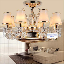 Ceiling fans Anion stealth fan lamp light LED zinc alloy crystal european-style remote control lamps 8 Heads ceiling
